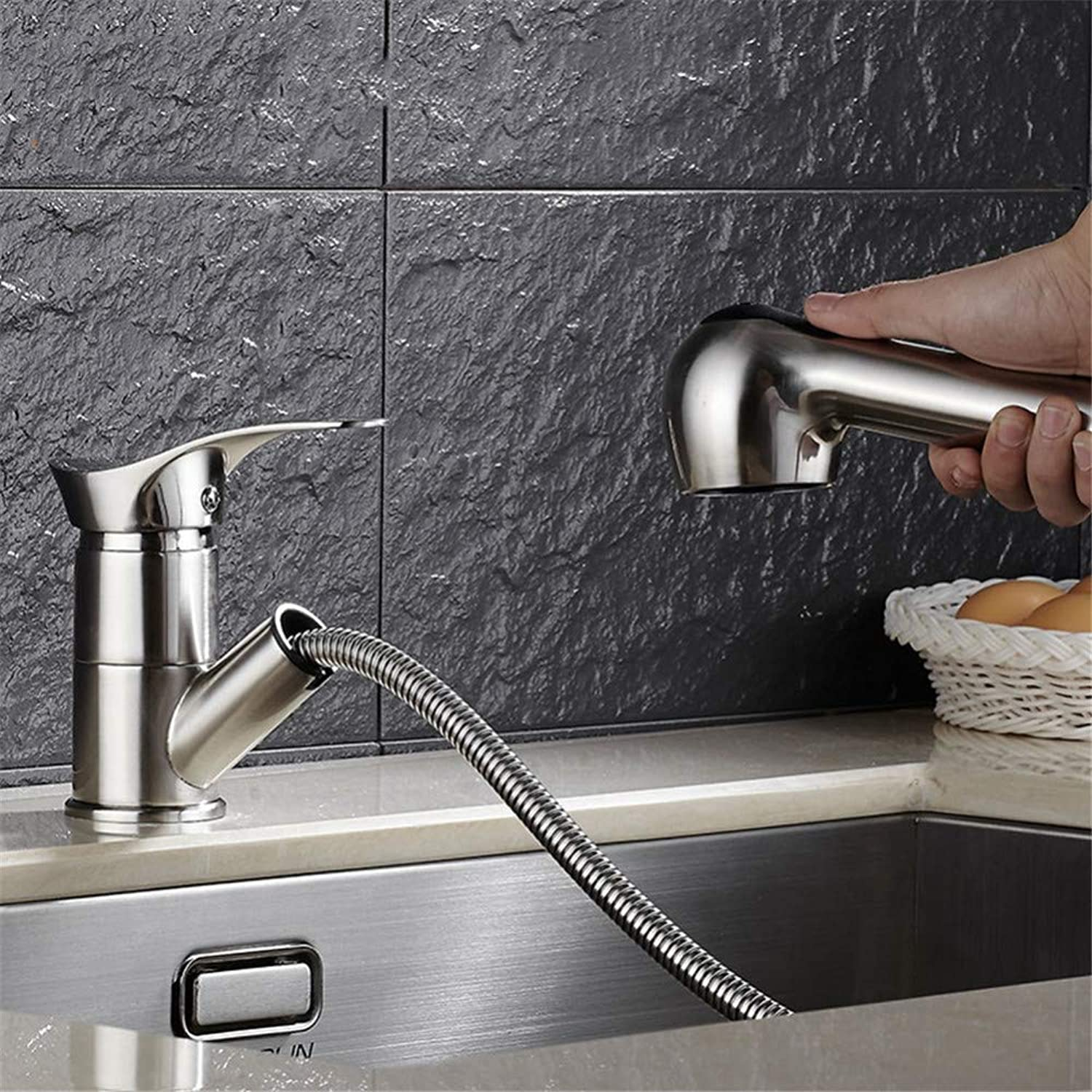 PajCzh Sink Bathroom Sink Taps Kitchen Faucet Sink Faucet Pull redating Brushed Hot And Cold Faucet