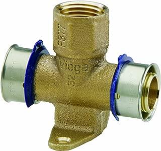Viega 94638 PureFlow Zero Lead Bronze PEX Press Fire Sprinkler Tee with Female 1-Inch by 3/4-Inch by 1/2-Inch Press x Press x Female NPT