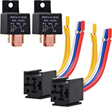 EHDIS 2 Packs Car Relay with Harness Truck Motor Heavy Duty 5-Pin 80A 12V Relay On/Off Normally Open SPDT Relay Socket Plug 5 Wire Automotive Relay JD2912-1Z-12VDC 80A 14VDC