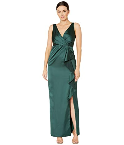 Adrianna Papell Sleeveless Draped Gown with Front Ruffle (Forest) Women