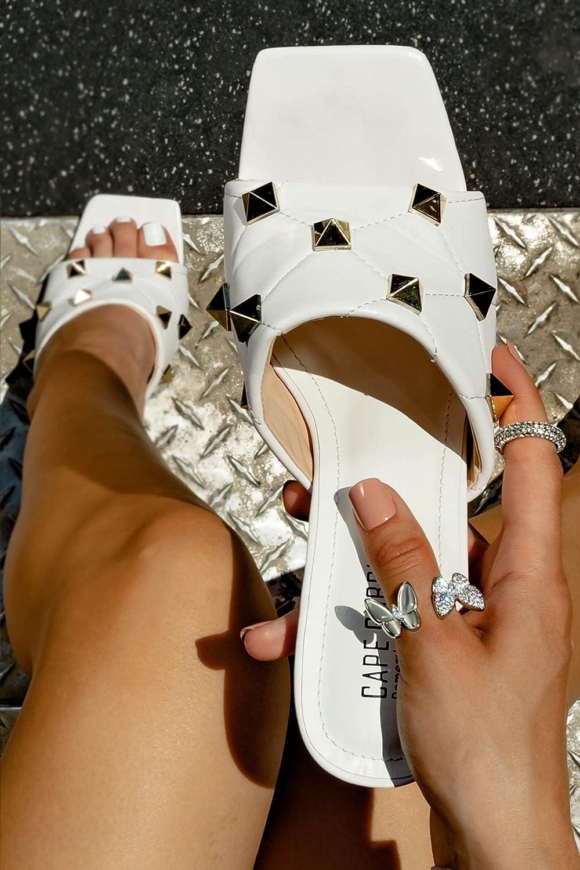 Square Toe Slip On High Heel Sandals For Women