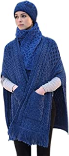 100% Irish Merino Wool Ladies Pocket Shawl by West End Knitwear