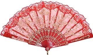 Demarkt Handfächer Hand Fan Fächer Sommer Party Hochzeit Hand Fan aus Kunststoff und Spitze Rot