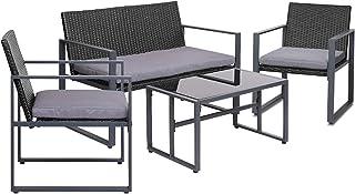 Gardeon 4pc Patio Furniture Set Outdoor Furniture Wicker Garden Lawn Sofa Seat Cushion Black
