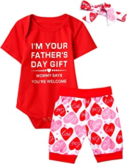 Aslaylme Happy Father's Day Baby Girl Bodysuit Love Heart Short Set with Headband