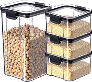 4 Pièces Étanche À L'humidité Empilable Boîte De Rangement Des Aliments Étanche À L'air Ensemble De Conteneurs Cuisine Gar...