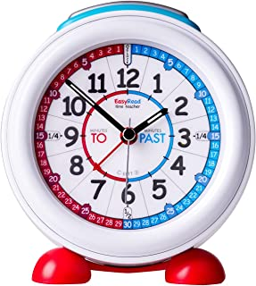 EasyRead Time Teacher Children's Alarm Clock with Night Light, 'Minutes Past & Minutes to' Red & Blue Clock Face