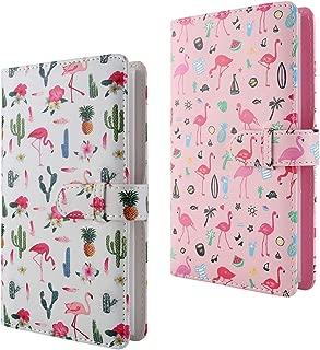 WarmHut Flamingo Instax Album Set, 2 PCS 96 Pockets Wallet PU Leather Photo Albums Compatible for Fujifilm Instax Mini 7S 8 8+ 9 25 26 90 Instant Camera Film,Polaroid Camera 3-inch Film(White & Pink)