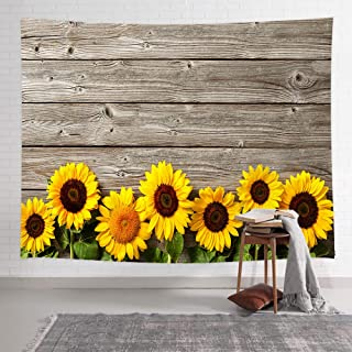 NYMB Sunflower Tapestry Wall Hanging, Spring Flowers on Rustic Wood Plank Country Theme, Tapestries Art Bedroom Living Room Dorm 71 X 60 Inches Wall Blankets Home Decor