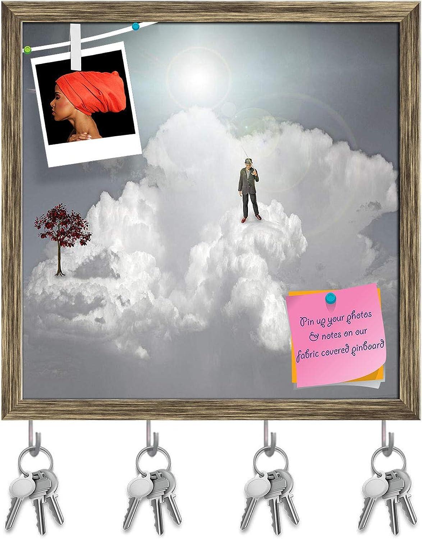 Artzfolio Strange Scene in Clouds Key Holder Hooks   Notice Pin Board   Antique golden Frame 20 X 20Inch