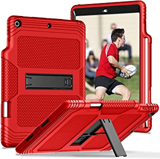 Hocase iPad 7th Generation (10.2) 2019 Case, Heavy Duty Shock Absorbing Soft Silicone Rubber Bumper+Hard Plastic Protective Case with Pencil Holder & Stand for iPad A2197, A2198, A2200 - Red