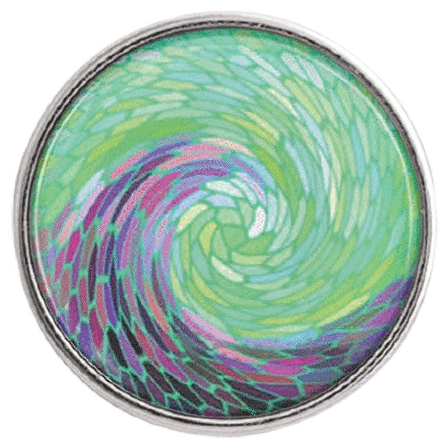 Chunk Snap Charm Sea Wave Green Purple Blue 20mm 3/4