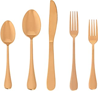 18/10 Premium Stainless Steel Silverware Flatware 20 Pcs Set. Rose Gold Titanium Plated Hand Hammered Copper Cutlery for Home, Hotel, Party, Gift Set, Mirror Polished- Dishwasher Safe