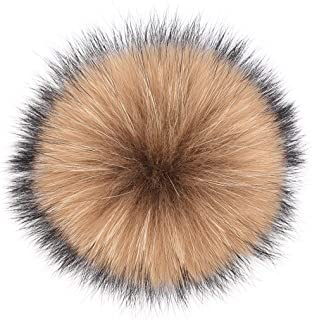 Genuine Raccoon Fox Fur Pompom with Button Real Big Fluffy Fur Ball for Beanies DIY Fur Accessories