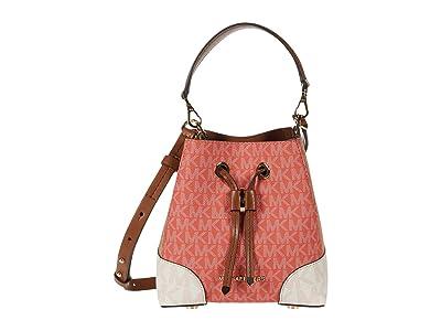 MICHAEL Michael Kors Mercer Gallery Extra Small Convertible Bucket Crossbody (Pink Grapefruit Multi) Cross Body Handbags