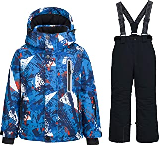 WOWULOVELY Boy's Ski Jacket Pants Snow Insulated Suit Windproof & Waterproof