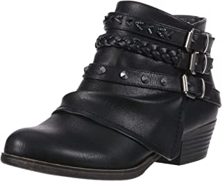 Sugar Womens WS8399 Truth Womens Fashion Braided Buckle and Studded Strap Low Heel Ankle Boot