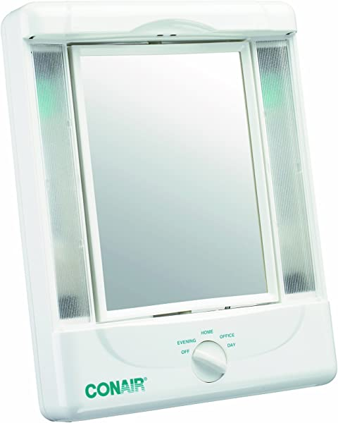Conair Two Sided Lighted Makeup Mirror With 4 Light Settings 1x 5x Magnification White