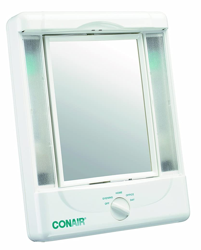 Conair Two-Sided Lighted Makeup Mirror with 4 Light Settings; 1x/5x Magnification; White fksvbitbjp6