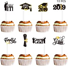 Amosfun 72PCS Graduation Cupcake Toppers 2019 Graduation Party Decorations Cake Topper Picks Toothpick Toppers Class of 2019 Graduation Party Supplies