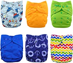 Babygoal Cloth Diaper Covers for Boys, One Size Adjustable Reusable Diaper Covers for Prefolds and Fitted Cloth Diapers, 6pcs Baby Boy Covers+One Wet Bag 6DCF03