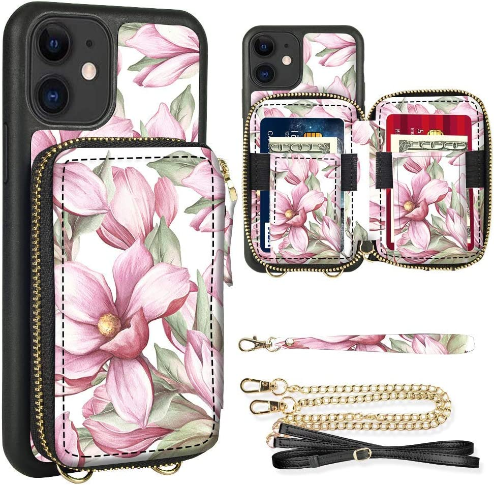 iPhone 11 Wallet Case, ZVE iPhone 11 Crossbody Case with Wallet Handbag Purse Wrist Strap Zipper Credit Card Holder Leather Case Protective Cover for Apple iPhone 11 6.1 inch 2019 - Pink Floral
