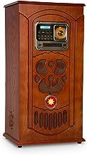 auna Musicbox Jukebox Equipo estéreo Retro - Equipo de música , Tocadiscos , Reproductor CD MP3 , Bluetooth , USB , SD , Radio FM , AUX , Iluminación LED , Madera , Mando Distancia , Marrón