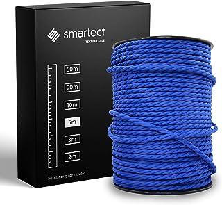 smartect Cable para lámparas de tela en color Azul Marino - Cable textil trenzado de 5 Metro - 3 hilos (3 x 0,75 mm²) - Cable de luz con revestimiento textil
