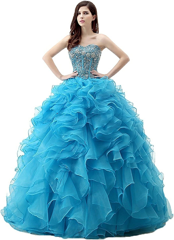 Lavaring Women's Rhinestones Sweetheart Layered Organza FloorLength Ball Gown bluee US14
