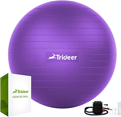 Trideer Extra Thick Yoga & Exercise Ball, 5 Sizes Ball Chair, Heavy Duty to Support 2200lbs, for Balance, Stability, ...