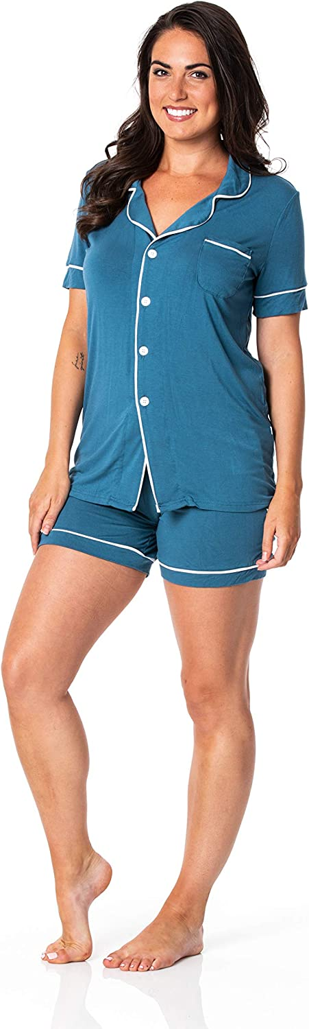 KICKEE Women's free Price reduction Solid Short Sleeved Pajama Set Collared with Shor
