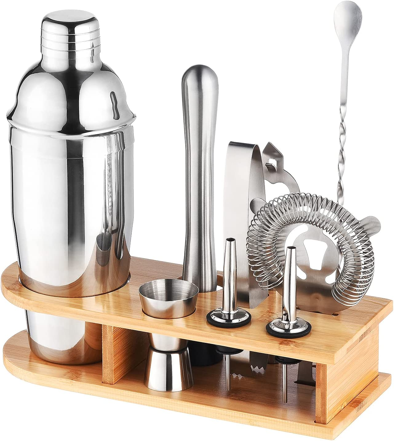 Cocktail Shaker Set 10Piece 304 Stainless Steel Bartender Kit with Bamboo Stand & all Essential Cocktail Set Bar Tools Perfect for Home & Traveling Bartending Kit