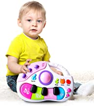M SANMERSEN Baby Musical Piano Toy with Microphone Songs and Animal Sound Color Recognition for Toddler Infant Gift for Baby