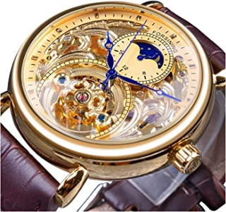 Automatic Watch for Men Classy Tourbillon Skeleton Watch Dial Moon Phase Waterproof Mechanical Movement