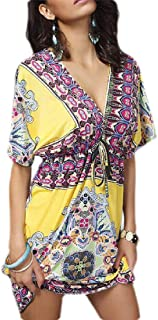 Womens Backless Casual V Neck Floral Print Kimono Boho Knee Length Mini Dress