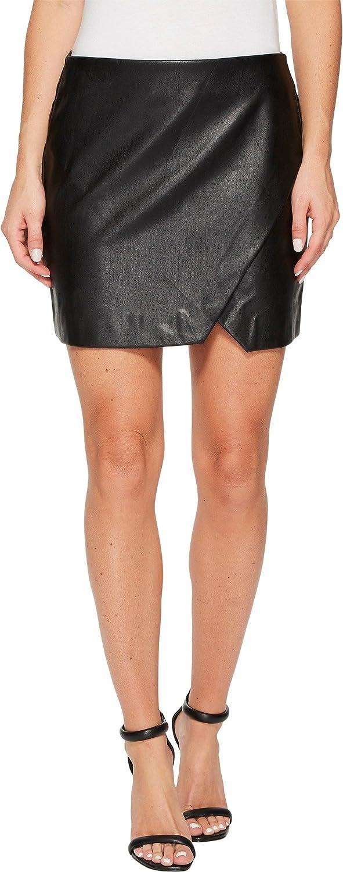 Blank NYC Womens Black Vegan Leather Mini Skirt in Black Ice