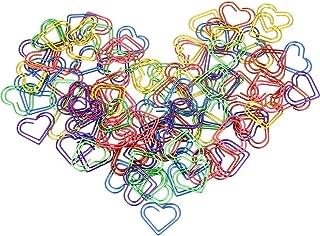 AFASOES Clips de papel 105PCS Abrazaderas de papel de metal Clips de marcado de marcadores de colores Abrazadera de página de papelería en forma de corazón para útiles escolares de oficina (6 colores)