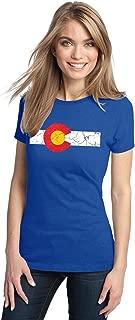 Colorado State Flag Distressed Ladies' T-Shirt/Vintage Look CO Denver Tee