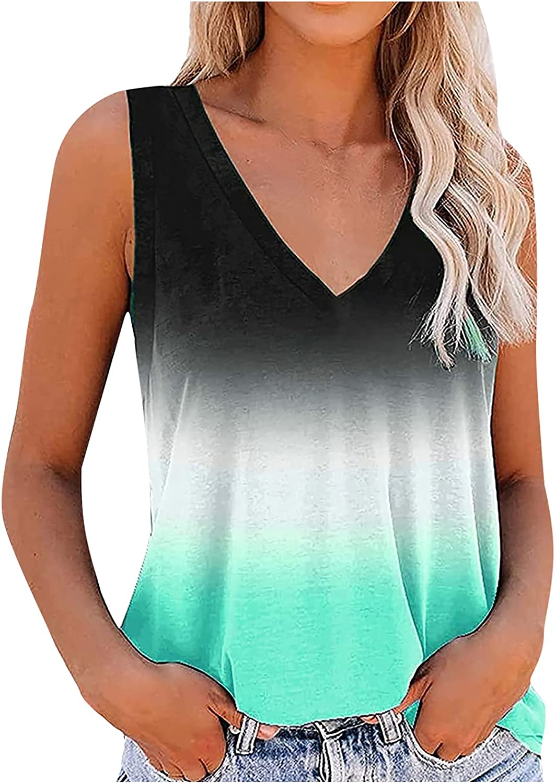 Womens Tops Women's Casual Printing V-Neck Gradient Sleeveness Tops Loose Vest Blouses Juniors Girls
