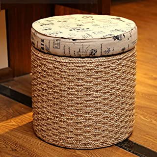 LSX - Almacenamiento Footstool Basket Shoe Bench Foyer Rattan Weaving Taburete Sala de Estar Dressing Table Shopping Mall ...