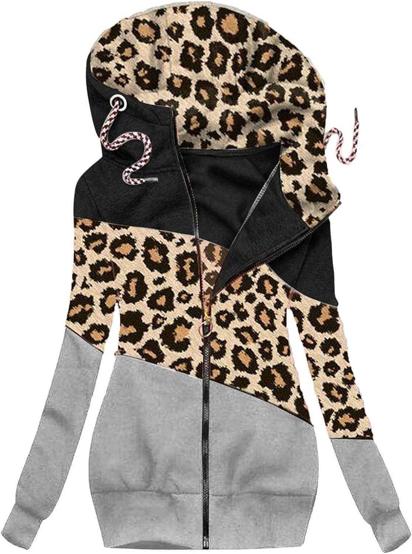 ManxiVoo Women Zipper Sweatshirt Coat Plus Size Color Block Drawstring Hooded Hoodie Jackets Outwear Overcoat