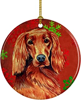 Caroline's Treasures LH9344-CO1 Irish Setter Red Snowflake Holiday Christmas Ceramic Ornament, Multicolor