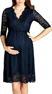 Hello MIZ Women Lace Maternity Dress with Nursing...
