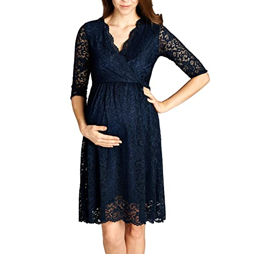 648fb191db4c7 Hello MIZ Women Lace Maternity Dress with Nursing Friendly Faux Wrap