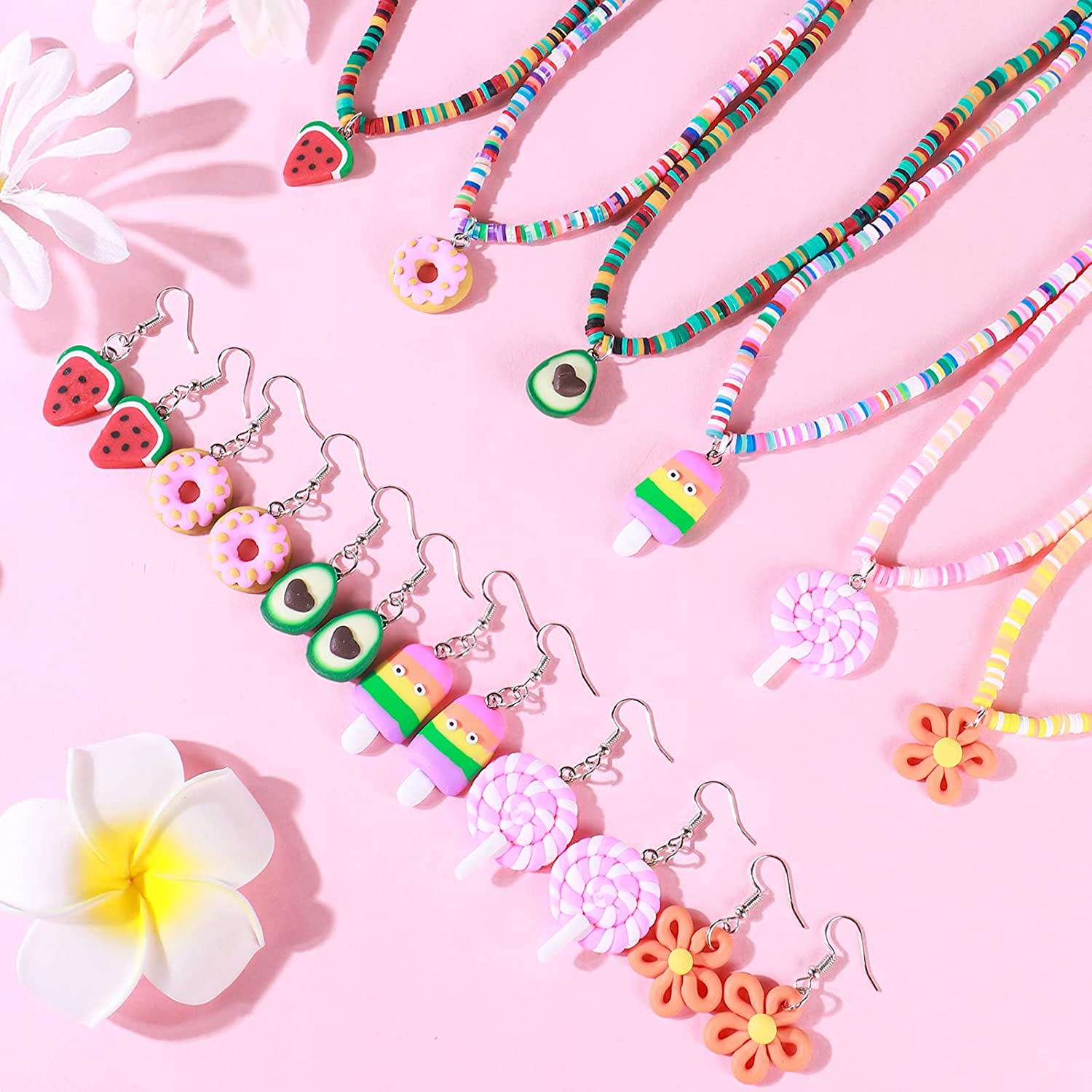 G.C 6 Sets Polymer Clay Rainbow Necklace and Drop Dangle Earrings with Cute Watermelon Ice Cream Donuts Flower Lollipop Charms Toy Gift Party Favors Dress up Surfer Jewelry for Girl Teen Women