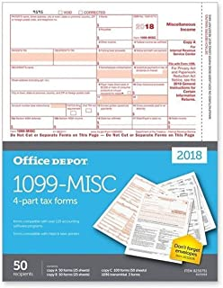 "Office Depot Brand 1099-MISC Inkjet/Laser Tax Forms for 2018 Tax Year, 2-Up, 4-Part, 8 1/2"" x 11"", Pack of 50 Forms"