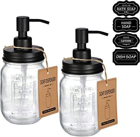 Amazon Com Mason Jar Liquid Soap Dispenser Rustproof Stainless Steel Replacement Farmhouse Decor For Kitchen Bathroom Liquid Soap Pumps For Hand Soap Dish Soap Lotions Black 2 Pack Kitchen Dining