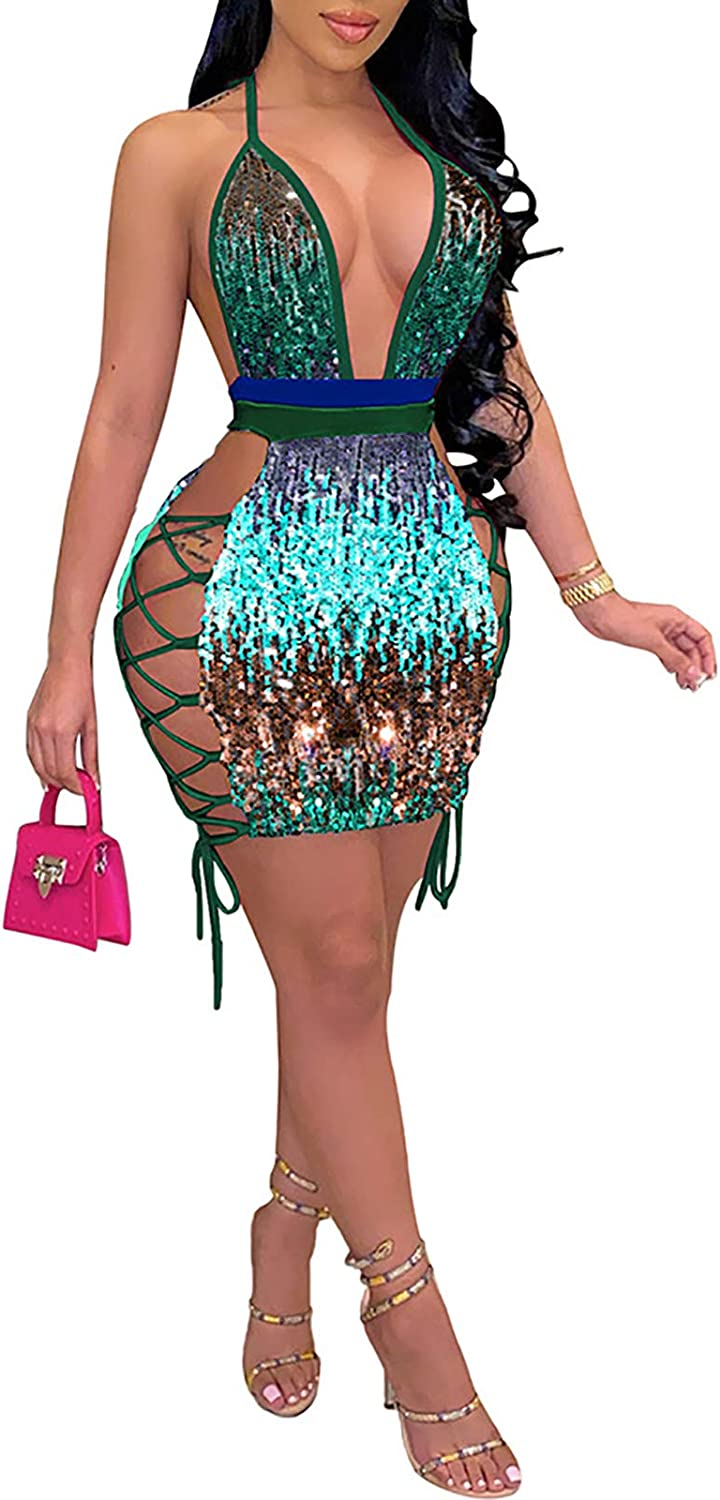 Women Sequin Mini Dress - Sexy Halter Spagetti Straps V Neck Bandage Hollow Out Bodycon Club Party Dresses Clubwear