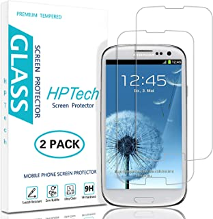 HPTech Galaxy S3 Screen Protector - (2-Pack) for Samsung Galaxy S3 Tempered Glass Screen Protector Bubble Free 9H Hardness with Lifetime Replacement Warranty