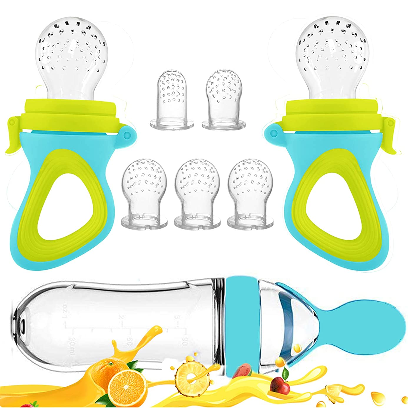 Baby Food Feeder, Fresh Food - 2 Pack Fruit Feeder Pacifier, 5 Different Sized Silicone Teething Pacifiers | 1 Pack Baby Food Dispensing Spoon | Baby Fruit Teether | Baby Feeders Silicone